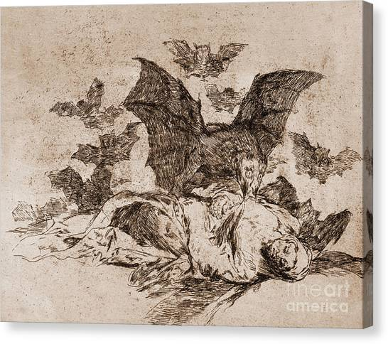 Pen And Ink Drawing Canvas Print - The Consequences by Goya
