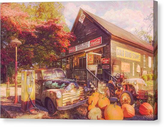 Rusty Truck Canvas Print - The Crazy Mule Antiques Postcard by Debra and Dave Vanderlaan