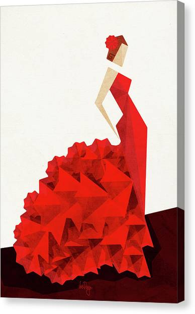 Dress Canvas Print - The Dancer Flamenco by Vess DSign