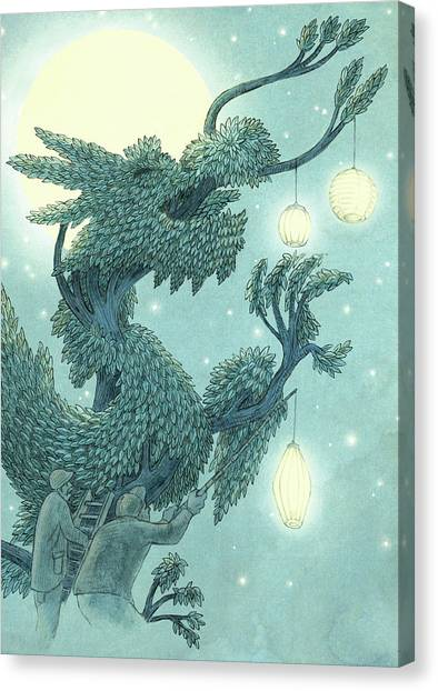 Tree Canvas Print - The Dragon Tree - Night by Eric Fan