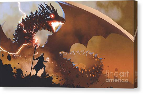 Canvas Print featuring the painting The Dragon Wizard by Tithi Luadthong