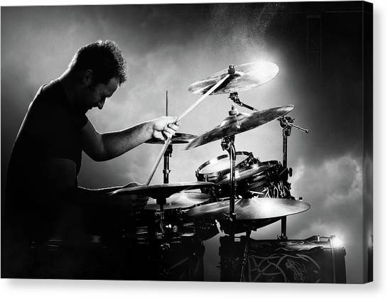 Drums Canvas Print - The Drummer by Johan Swanepoel