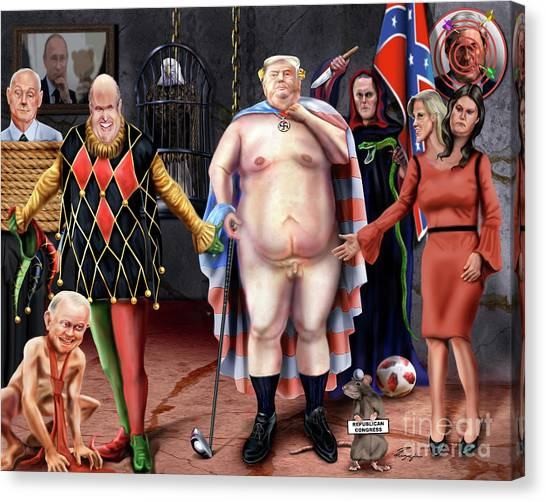 Republican Politicians Canvas Print - The Emperor And His Crazy House by Reggie Duffie