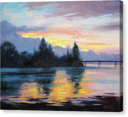 Colourful Canvas Print - The Entrance Sunset by Graham Gercken