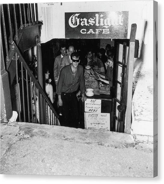 The Entrance To The Gaslight Cafe Canvas Print by Fred W. McDarrah