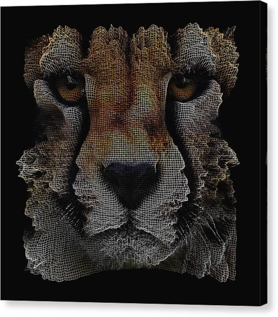 Canvas Print featuring the digital art The Face Of A Cheetah by ISAW Company