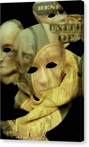 Canvas Print featuring the digital art The Face Of Greed by ISAW Company