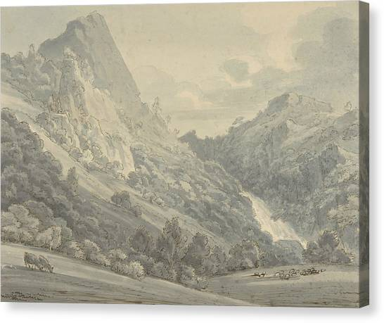 Sunderland Canvas Print - The Falls Of Lodore by Thomas Sunderland
