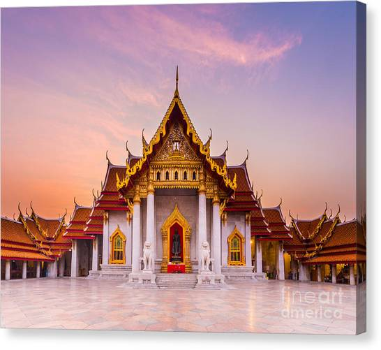 Worship Canvas Print - The Famous Marble Temple Benchamabophit by Pumidol
