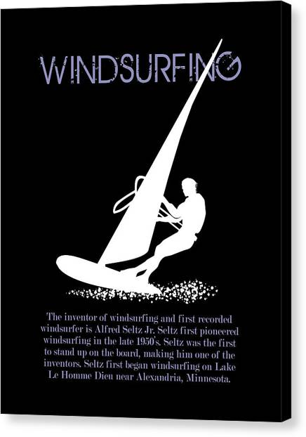 Surfboard Canvas Print - The First Pioneer Of Windsurfing by Daniel Ghioldi