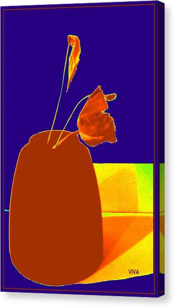 Canvas Print featuring the photograph The First Rose - Pop Art by VIVA Anderson