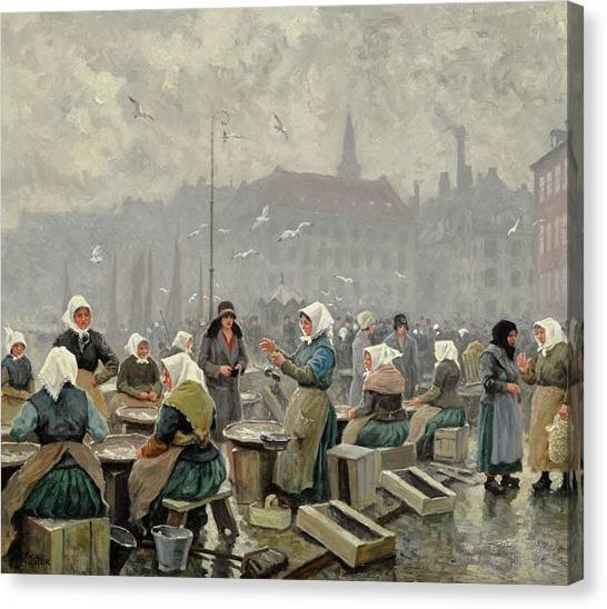 Fish Market Canvas Print - The Fish Market by Paul Gustave Fischer