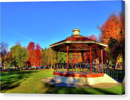 Canvas Print featuring the photograph The Gazebo At Reaney Park by David Patterson