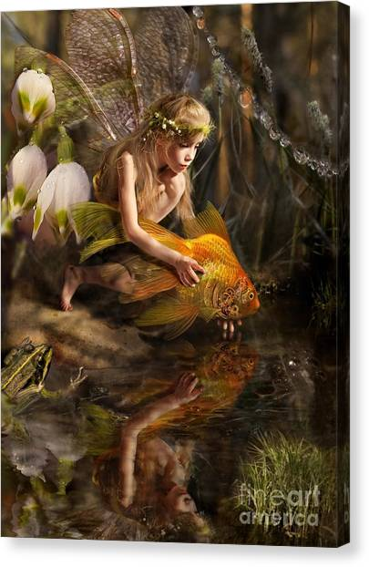 Beauty Canvas Print - The Girl Releases A Gold Fish by Liliya Kulianionak