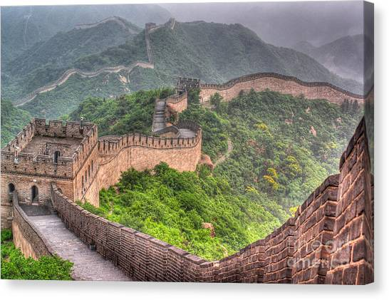 Fortification Canvas Print - The Great Wall Of China by Yuri Yavnik