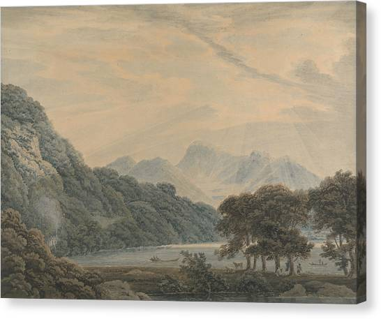 Sunderland Canvas Print - The Head Of Ullswater, With The Lodge Of Patterdale On The Left by Thomas Sunderland