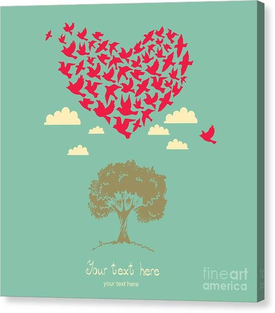 Happy Canvas Print - The Heart Of The Birds. Love Colorful by Mrs. Opossum