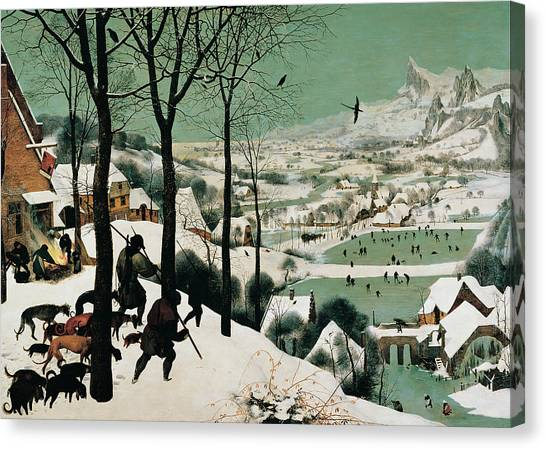The Hunters In The Snow, By Bruegel Canvas Print