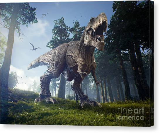 Powerful Canvas Print - The Hunting Grounds Of A Tyrannosaurus by Herschel Hoffmeyer