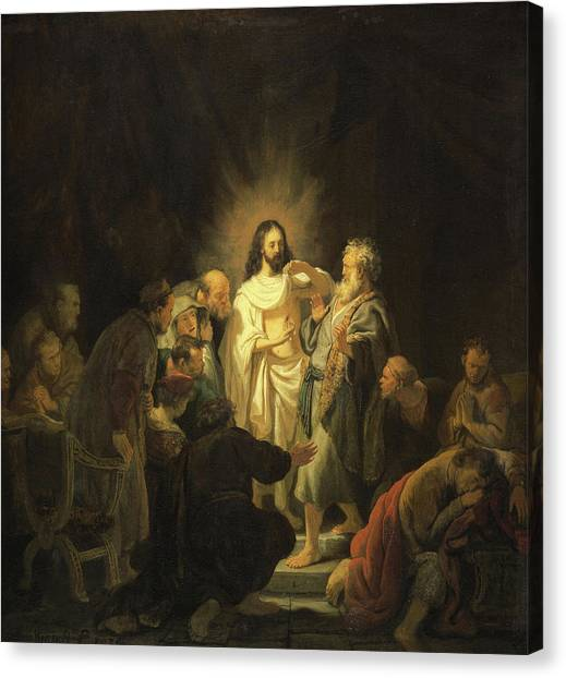 Resurrected Canvas Print - The Incredulity Of Saint Thomas by Rembrandt