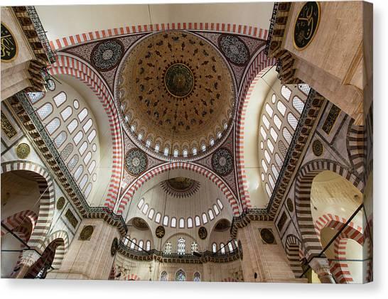 Suleymaniye Canvas Print - The Interior Of Süleymaniye Mosque by Marco Brivio