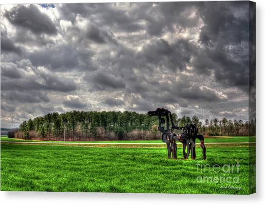 University Of Georgia Canvas Print - The Iron Horse Rainy Day Winter Wheat Art by Reid Callaway