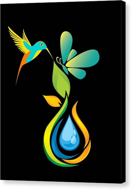 Canvas Print - The Kissing Flower And The Butterfly On Flower Bud by Ize Barbosa DIAMOND IS FOREVER