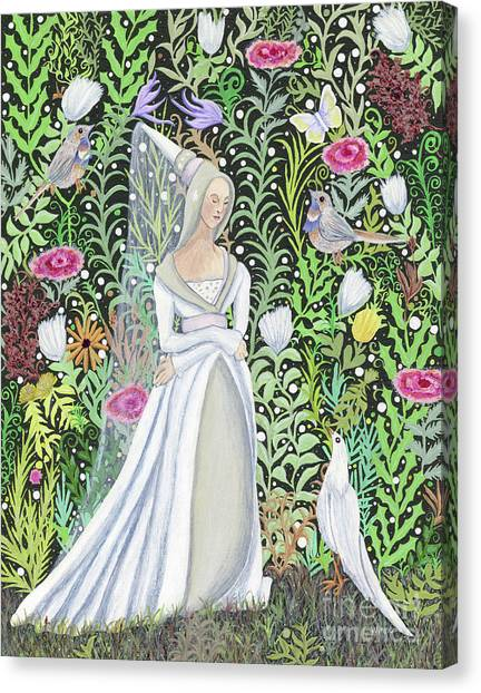 The Lady Vanity Takes A Break From Mirroring To Dream Of An Unusual Garden  Canvas Print