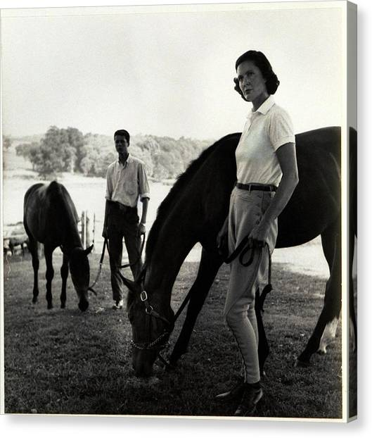 The Ledyards, Riding Canvas Print by Toni Frissell