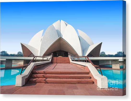 Worship Canvas Print - The Lotus Temple, Located In New Delhi by Saiko3p
