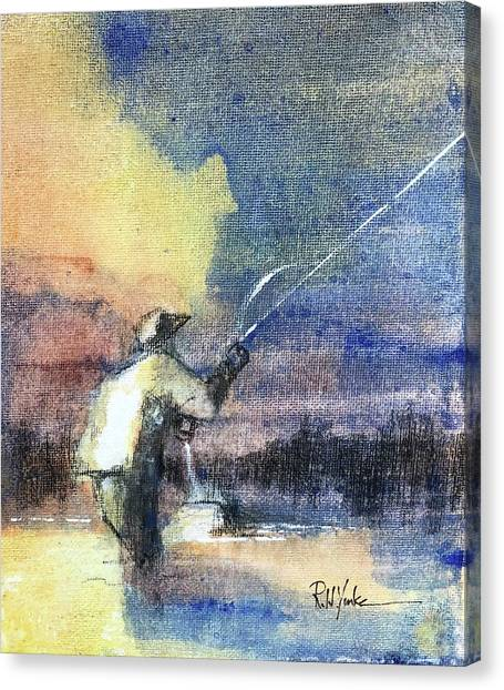 Angling Canvas Print - The Mend by Robert Yonke