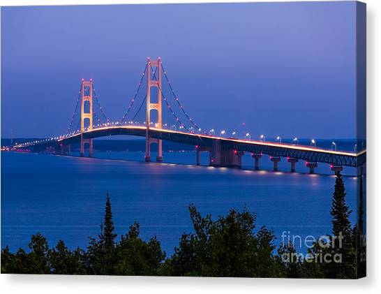 Rainbow Canvas Print - The Mighty Mackinac Bridge, Connecting by Kenneth Keifer