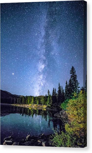 The Milky Way Over Echo Lake Canvas Print