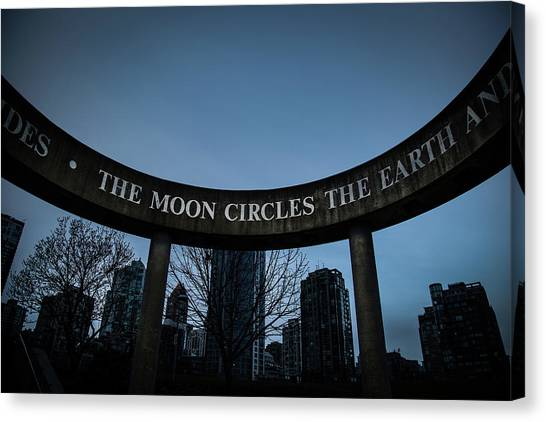 Canvas Print featuring the photograph The Moon Circle by Juan Contreras