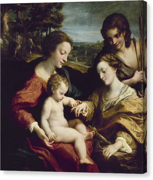 Gateway Arch Canvas Print - The Mystic Marriage Of St. Catherine Of Alexandria - 1525/26 - 105x102 Cm - Italian Renaissance. by Correggio -1489-1534-