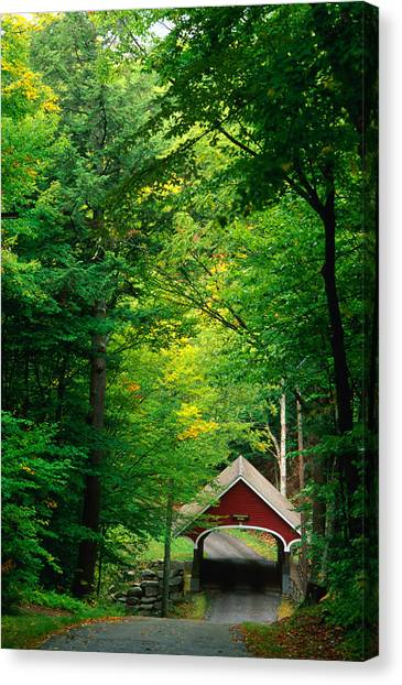 The New Hampshire Covered Bridge 39 Canvas Print by Mark Newman