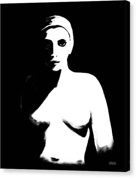 Canvas Print featuring the painting The Nude-confrontation by VIVA Anderson