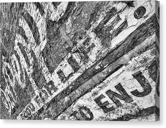 Dr. Pepper Canvas Print - The Old Dr Pepper Wall Black And White by JC Findley