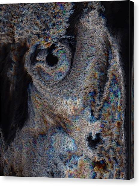 Canvas Print featuring the digital art The Old Owl That Watches by ISAW Company