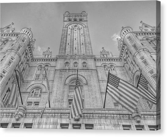 Post-modern Art Canvas Print - The Old Post Office Now Trump International Hotel In Washington D.c. - Black And White by Marianna Mills