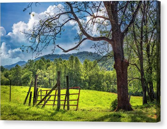 Canvas Print - The Old Red Gate by Debra and Dave Vanderlaan
