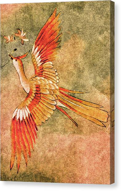 Canvas Print featuring the tapestry - textile The Peahen's Gift - Kimono Series by Susan Maxwell Schmidt