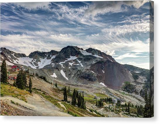 Canvas Print featuring the photograph The Peak Of Whistler Mountain With Amazing Cloud Formations by Pierre Leclerc Photography