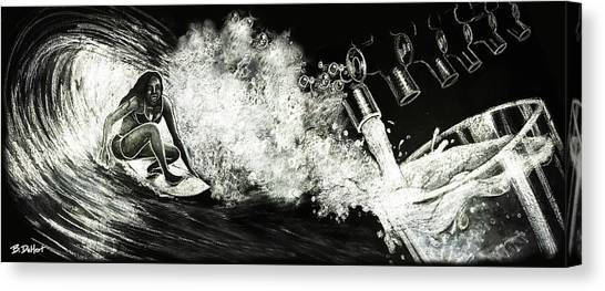 Surfboard Canvas Print - The Perfect Pour by Benjamin DeHart