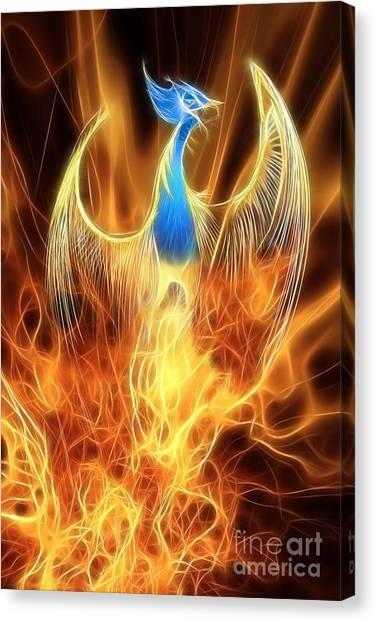 Mythology Canvas Print - The Phoenix Rises From The Ashes by John Edwards