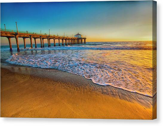 The Pier At Sunset Canvas Print by Fernando Margolles