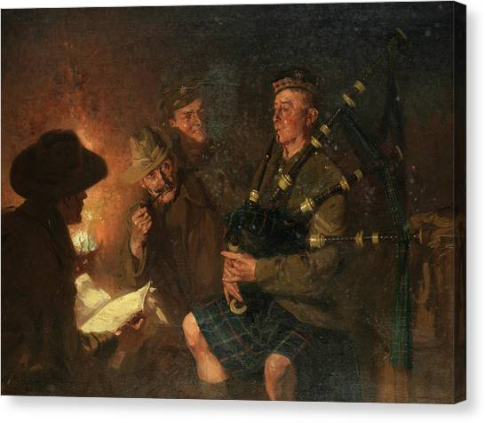 Plaid Canvas Print - The Pipes By Firelight by Fred Roe