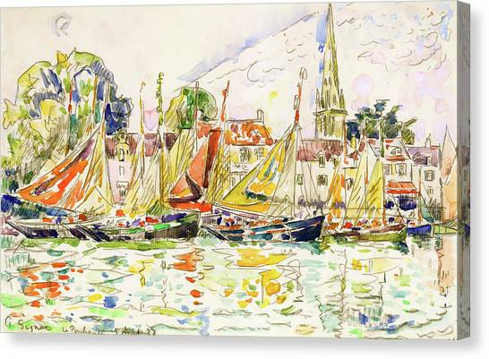 Signac Canvas Print - The Pouliguen, Fishing Boats - Digital Remastered Edition by Paul Signac