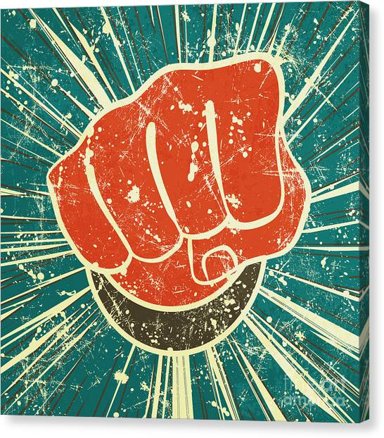 The Punch Fist Of Red Color On A Canvas Print by Verbena
