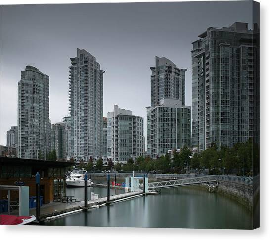 Canvas Print featuring the photograph The Quayside Marina - Yaletown Apartments Vancouver by Juan Contreras